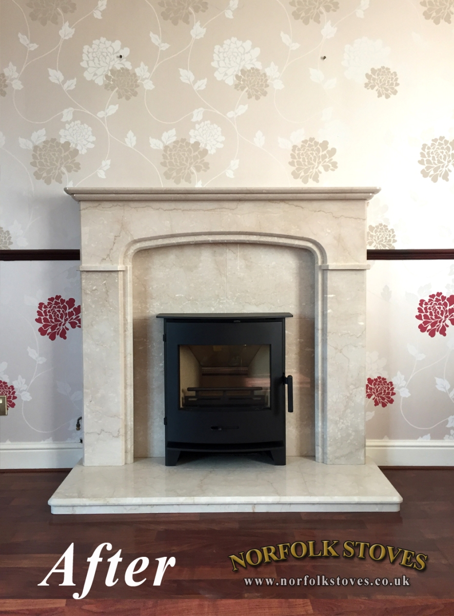 Newbourne 40i Inset, multi-fuel stove with marble surround
