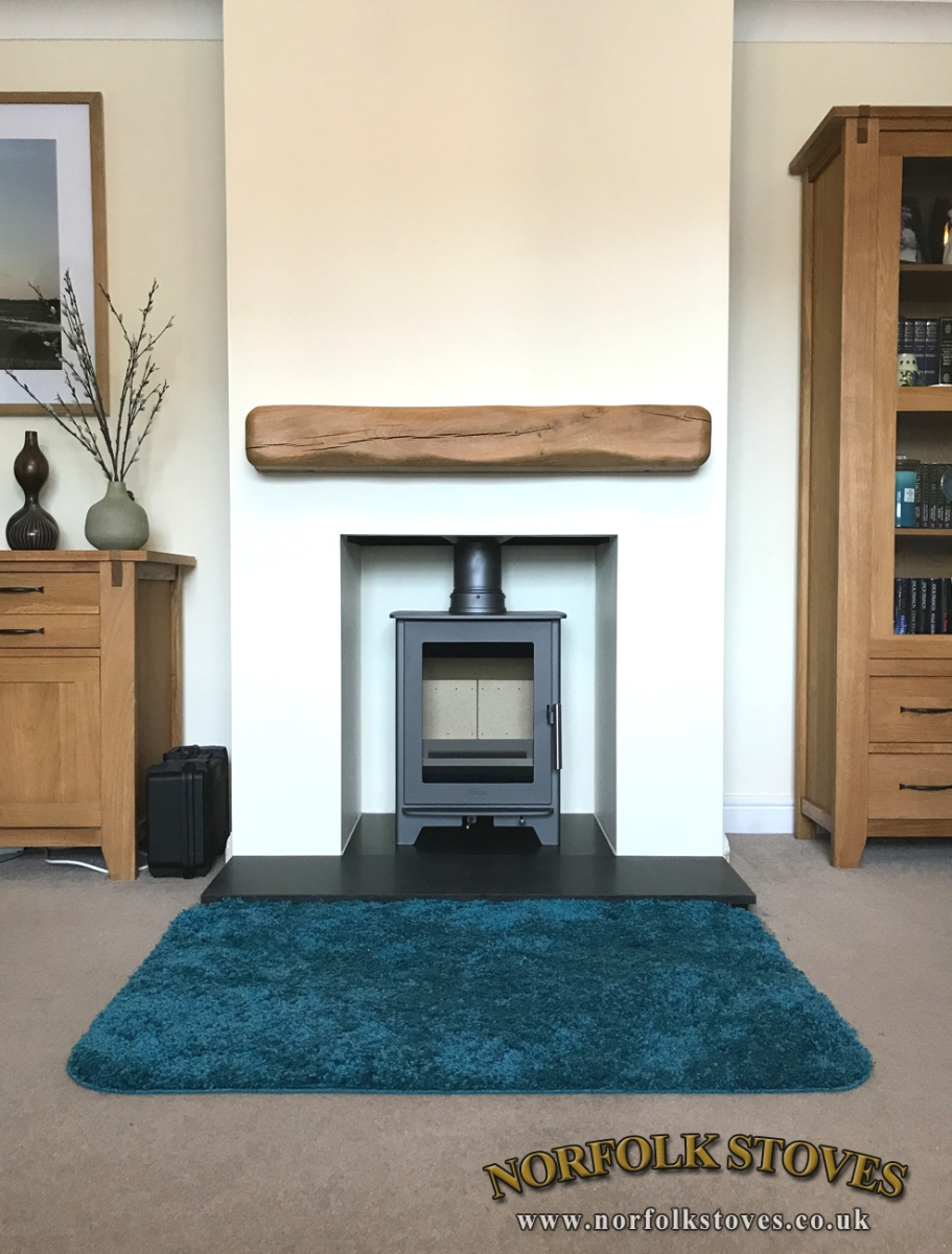 Heta Inpire 40 with granite hearth and beam