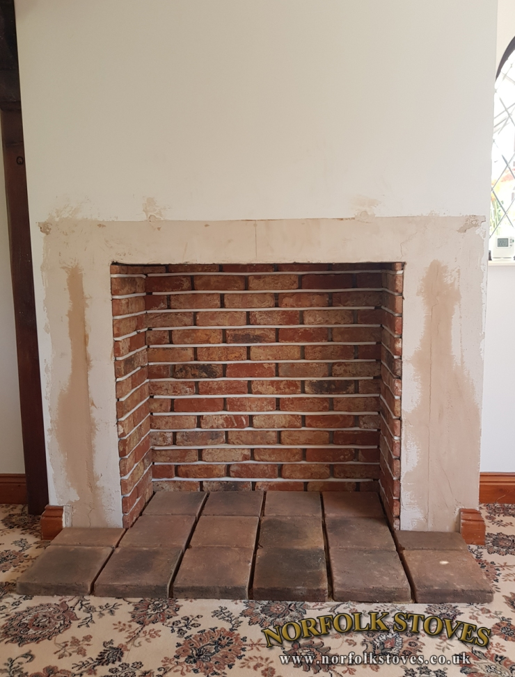 Brick slips and pamments in place ready to be pointed up.