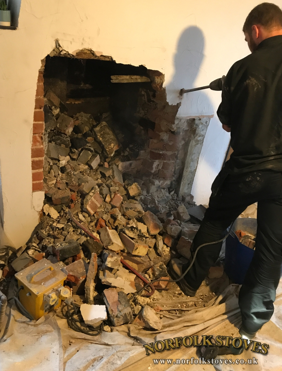 Fireplace excavation by Norfolk Stoves Ltd