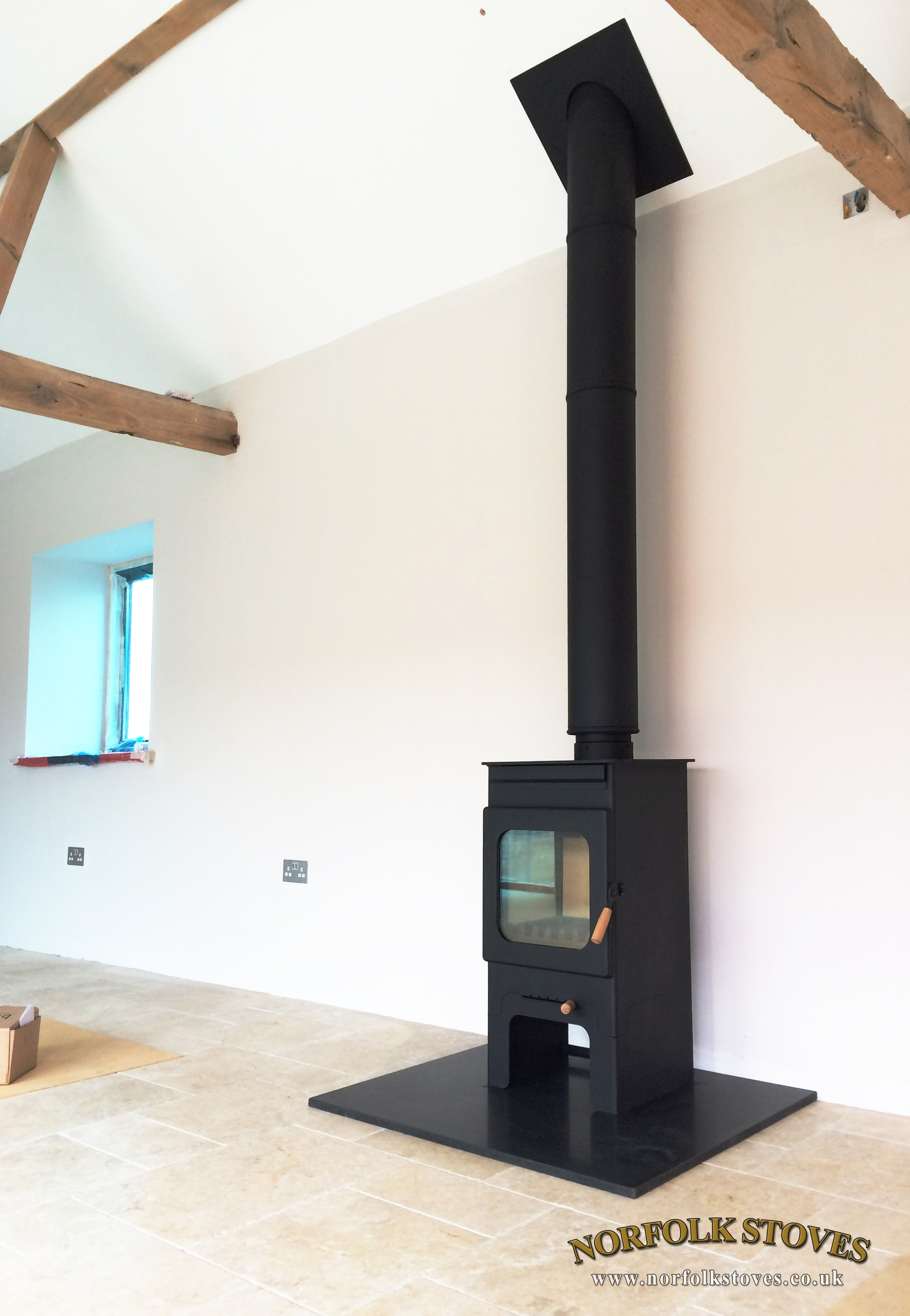 Burley Hollywell Wood Burner on Stand with 20mm Granite Hearth