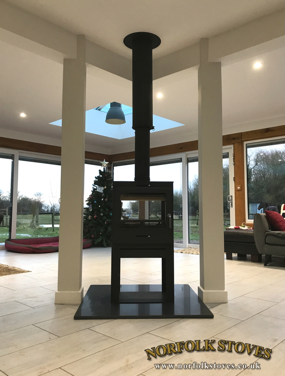 Double Sided Bohemia Multifuel Stove with log store