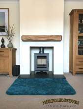 Heta Inspire 40 with Granite hearth a Oak Beam