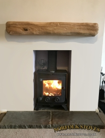 Yeoman Exmoor wood burning stove with wood beam